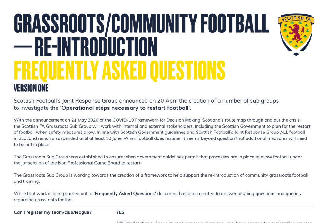 GRASSROOTS/COMMUNITY FOOTBALL — RE-INTRODUCTION